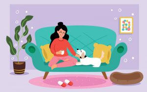 Illustration of girl on couch with dog
